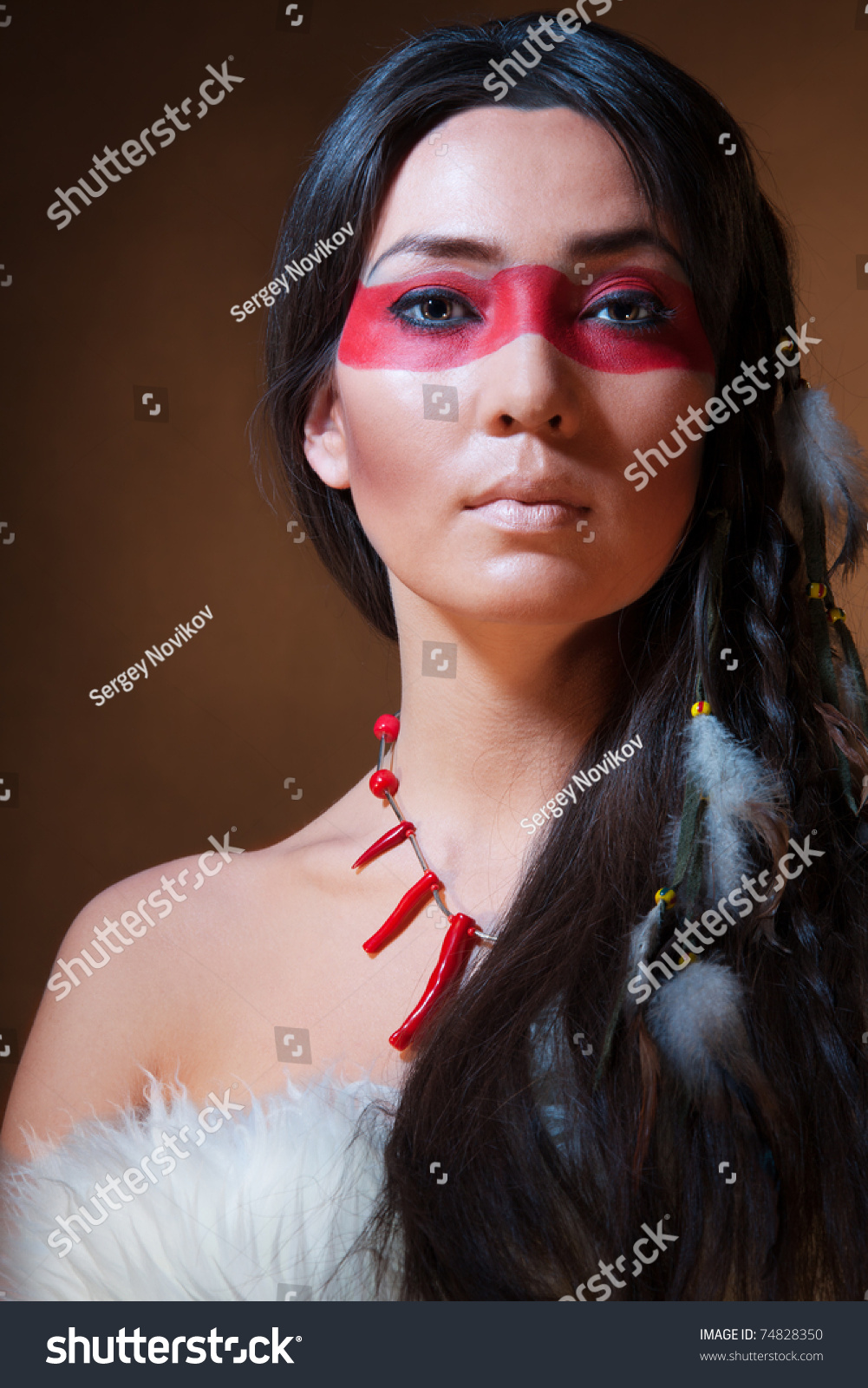American Indian With Paint Face Camouflage - Studio Photo With Professional Makeup - 74828350 ...