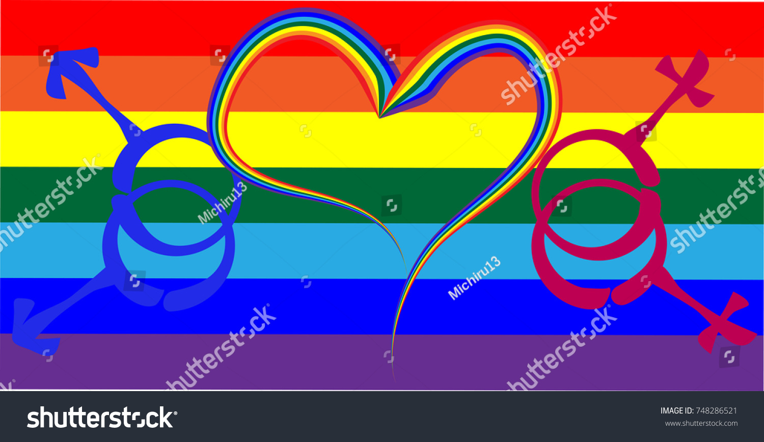 Heart Drawn By Rainbow Symbols Male Stock Illustration 748286521