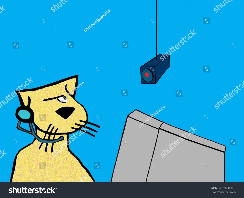 Cartoon Illustration Showing Worker Cat Security Stock Illustration