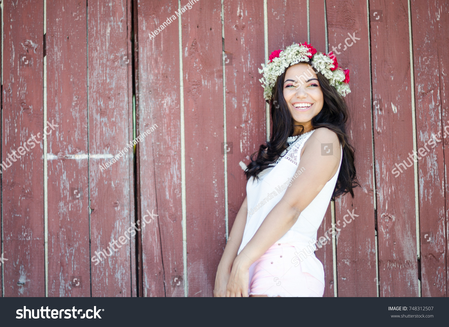 53c6672b3a Pretty Girl Wearing Flower Crown Stock Photo (Edit Now) 748312507 ...