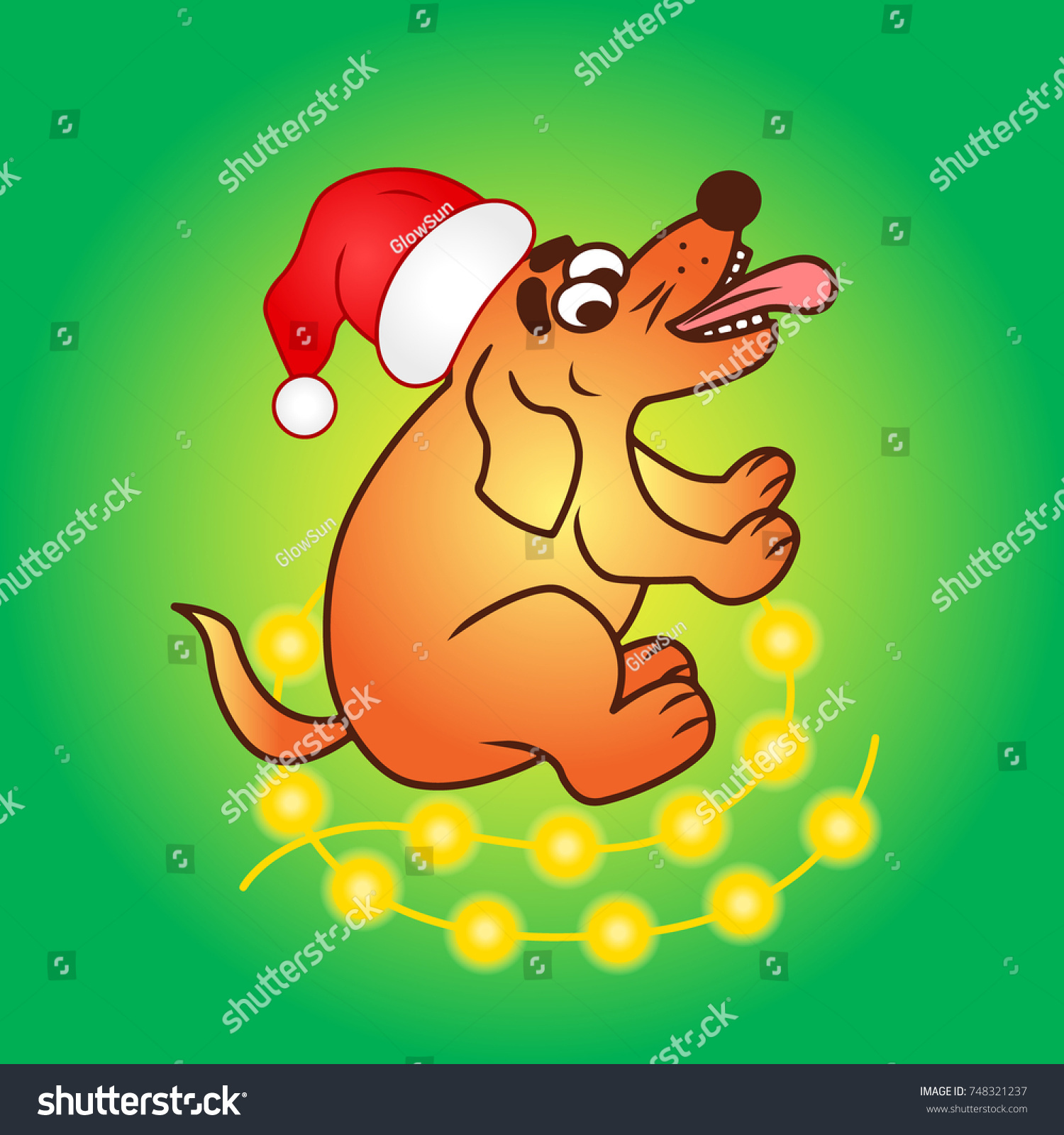 christmas dog vector in santa cap colored illustration sketch animal