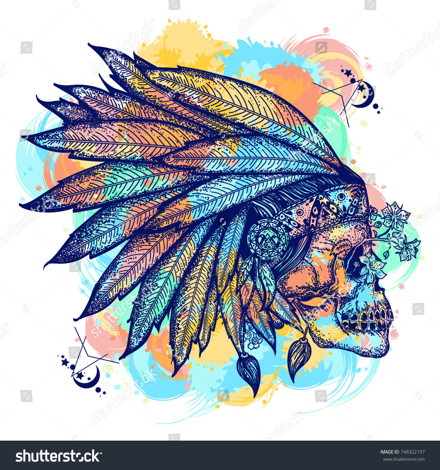 Indian skull color tattoo art warrior stock vector 748322197 warrior symbol native american indian feather headdress with human buycottarizona