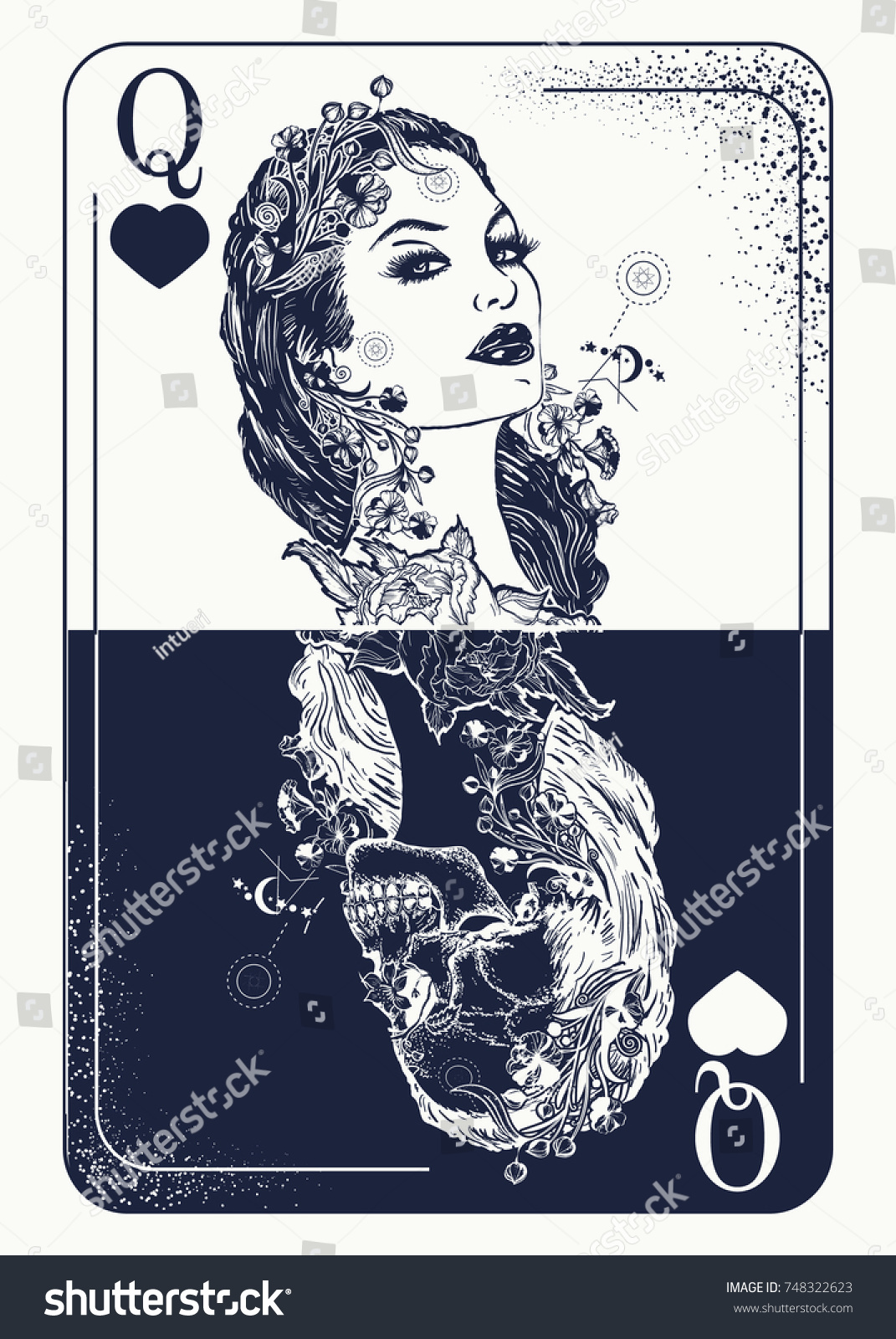 Queen Playing Card Tattoo Tshirt Design Stock Vector Royalty Free