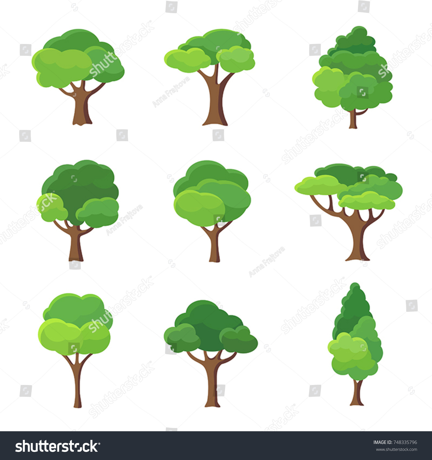 Collection of trees illustrations. Can be used to illustrate any nature or healthy lifestyle topic. #748335796