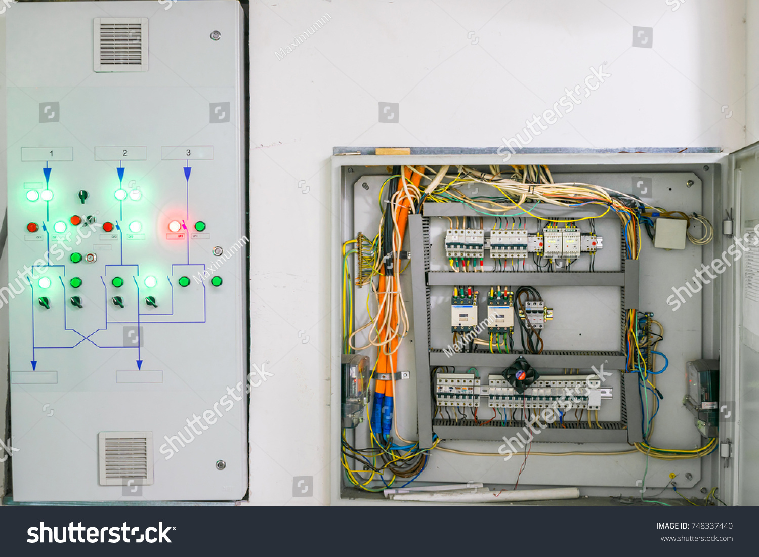 Backup Power Management System Located Next Stock Photo Edit Now Electronic The Is To Open Electrical Panel Electric Box