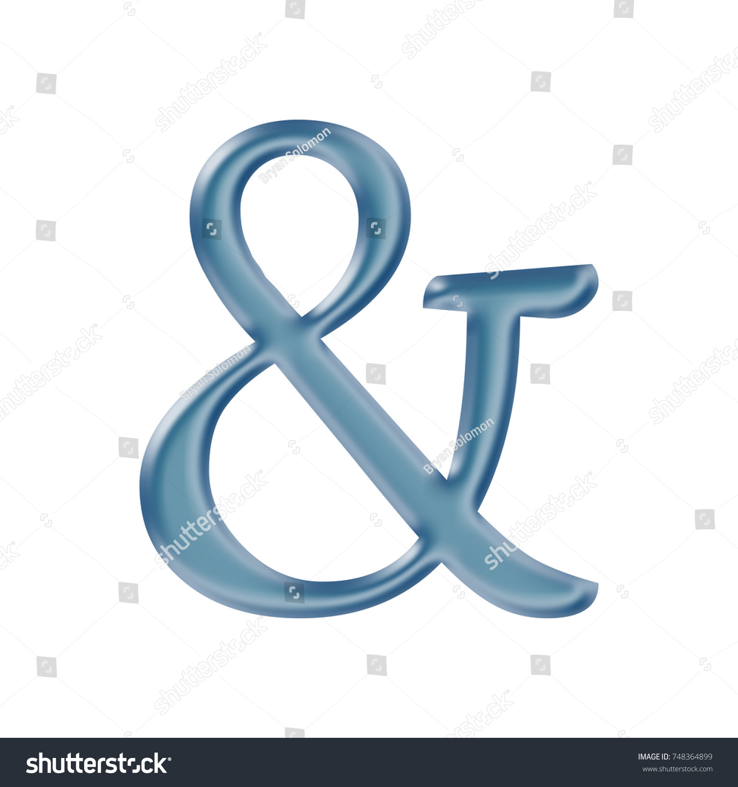Blue Silky Metallic Ampersand Sign Symbol Stock Illustration