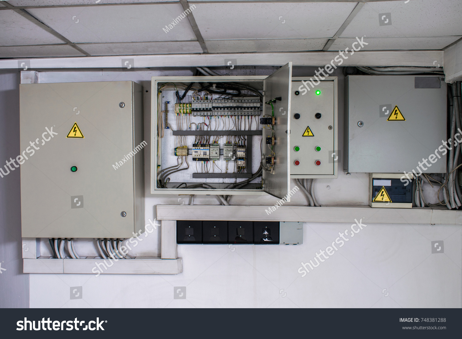 Several Electrical Boxes On Control Panel Stock Photo 748381288 ...