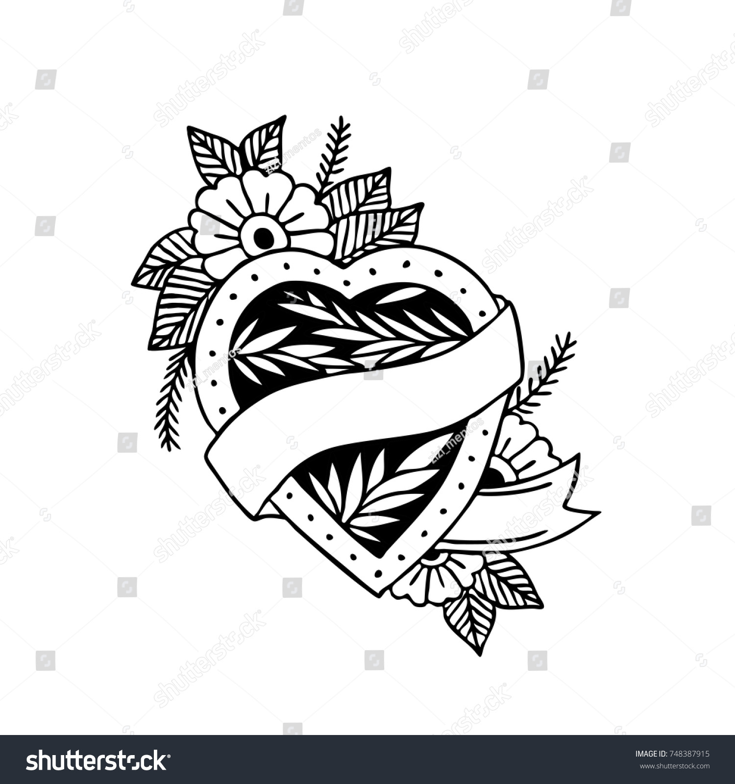 Heart Traditional Tattoo Flash Stock Vector Royalty Free 748387915