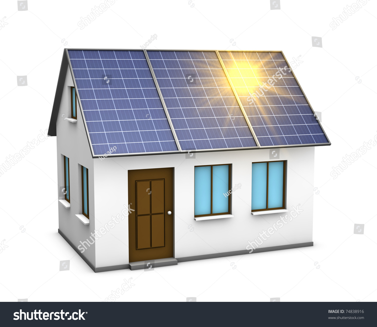One 3d Render Of A House With Solar Panels On The Roof And