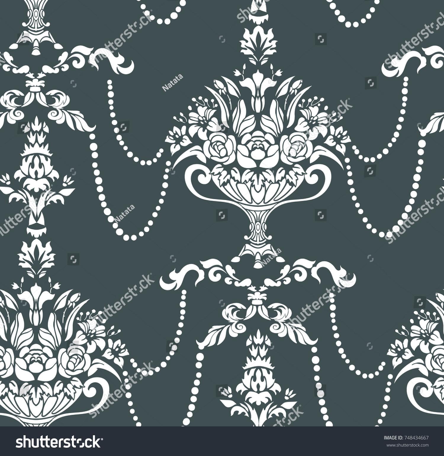 Beads flowers vase damask vector elegant stock vector 748434667 beads flowers vase damask vector elegant pattern reviewsmspy