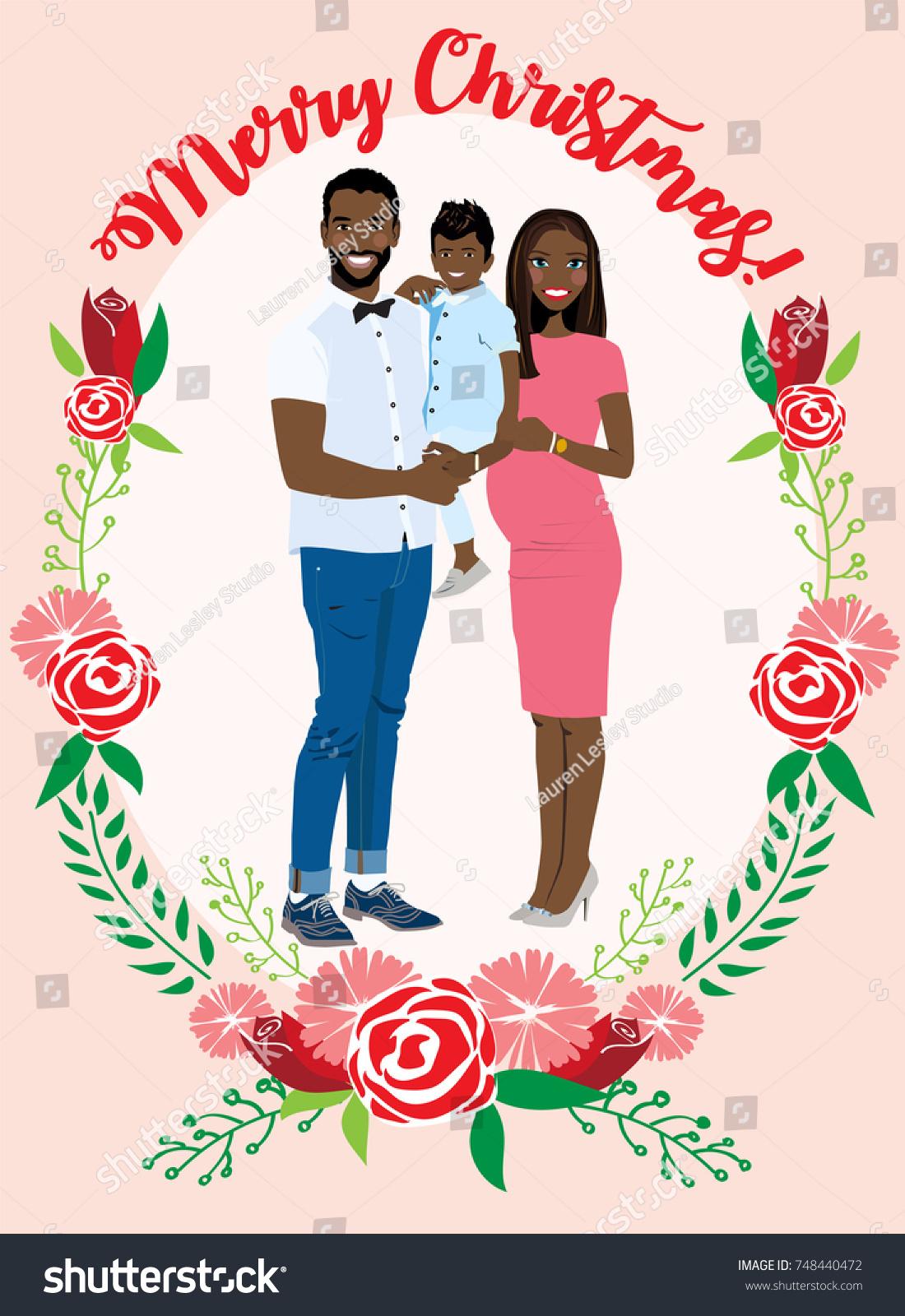 Pregnant Couple Christmas Card Stock Vector (Royalty Free) 748440472 ...