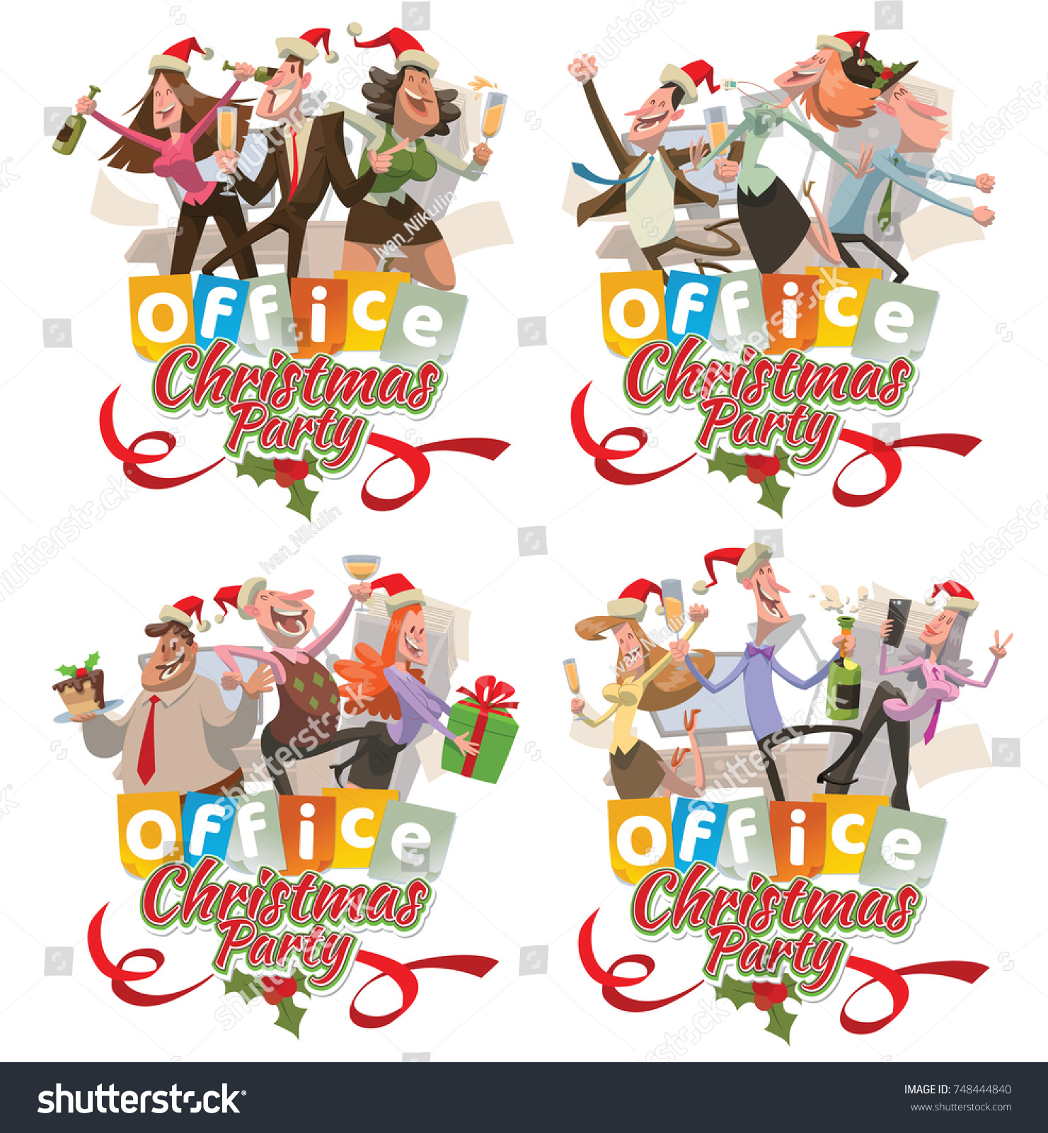 Vector Set Office Emblems Christmas Party Stock Vector (Royalty Free ...