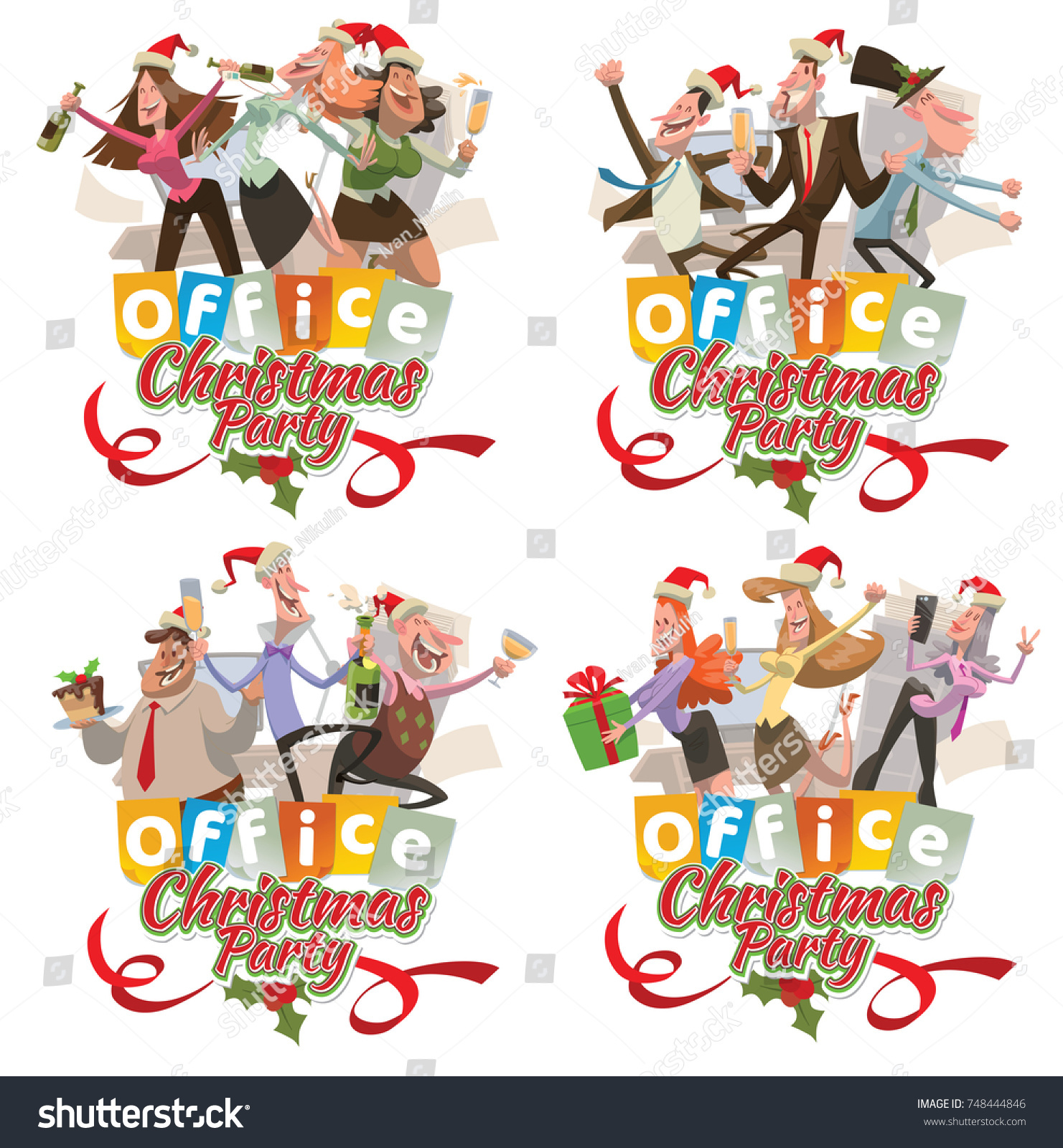 Vector Set Four Office Emblems Christmas Stock Vector (Royalty Free ...