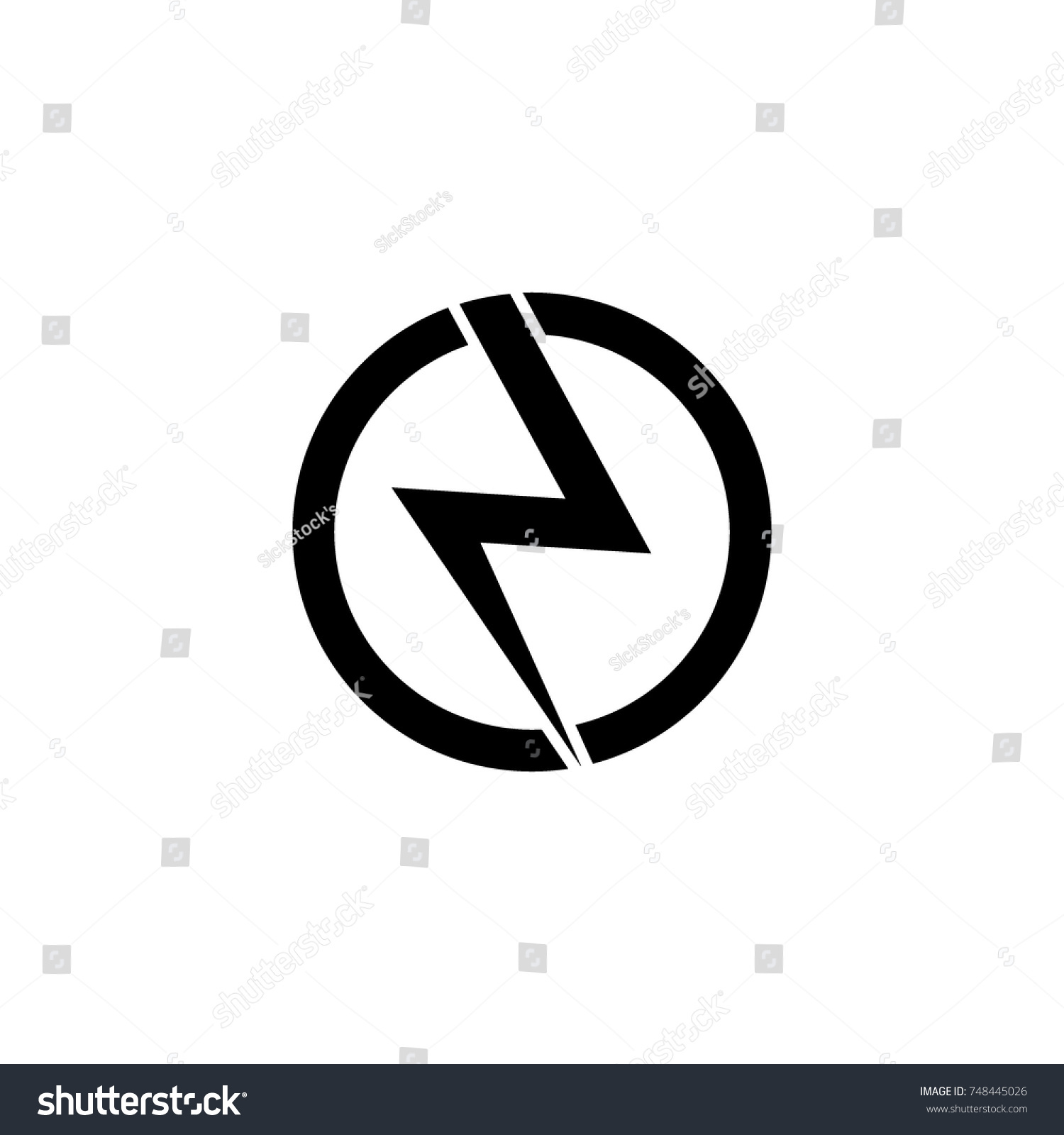 Lightning Bolt Symbol Circle Logo Icon Stock Vector (2018) 748445026 ... for Lightning Logo In Circle  186ref