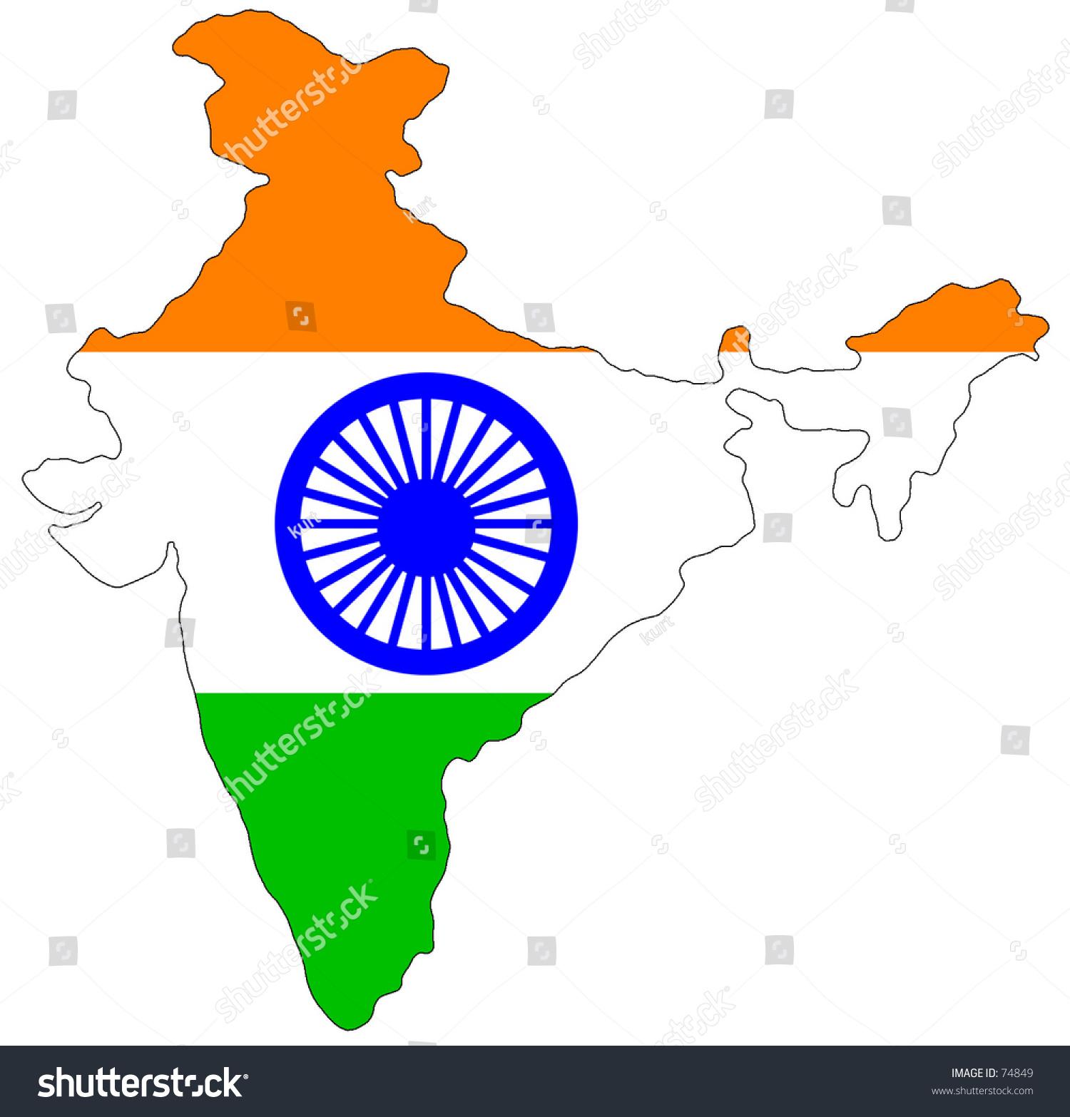 Plain Map Of India.Map India Filled Plain Indian Flag Stock Illustration 74849