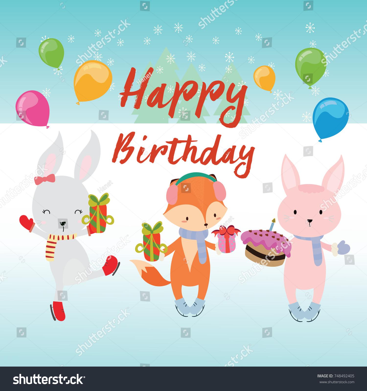 Cute happy birthday greeting card fox stock vector 748492405 cute happy birthday greeting card with fox and rabbit kristyandbryce Images