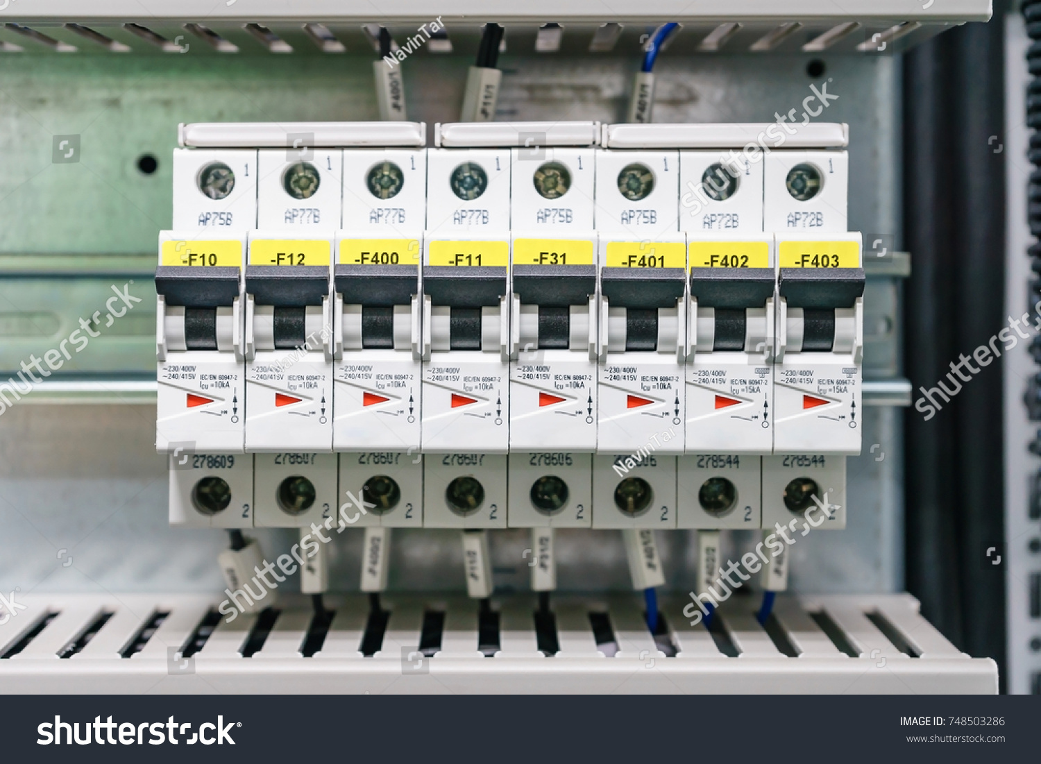 Electical distribution fuseboard. Electrical supplies. Electrical panel at  a assembly line factory. Controls