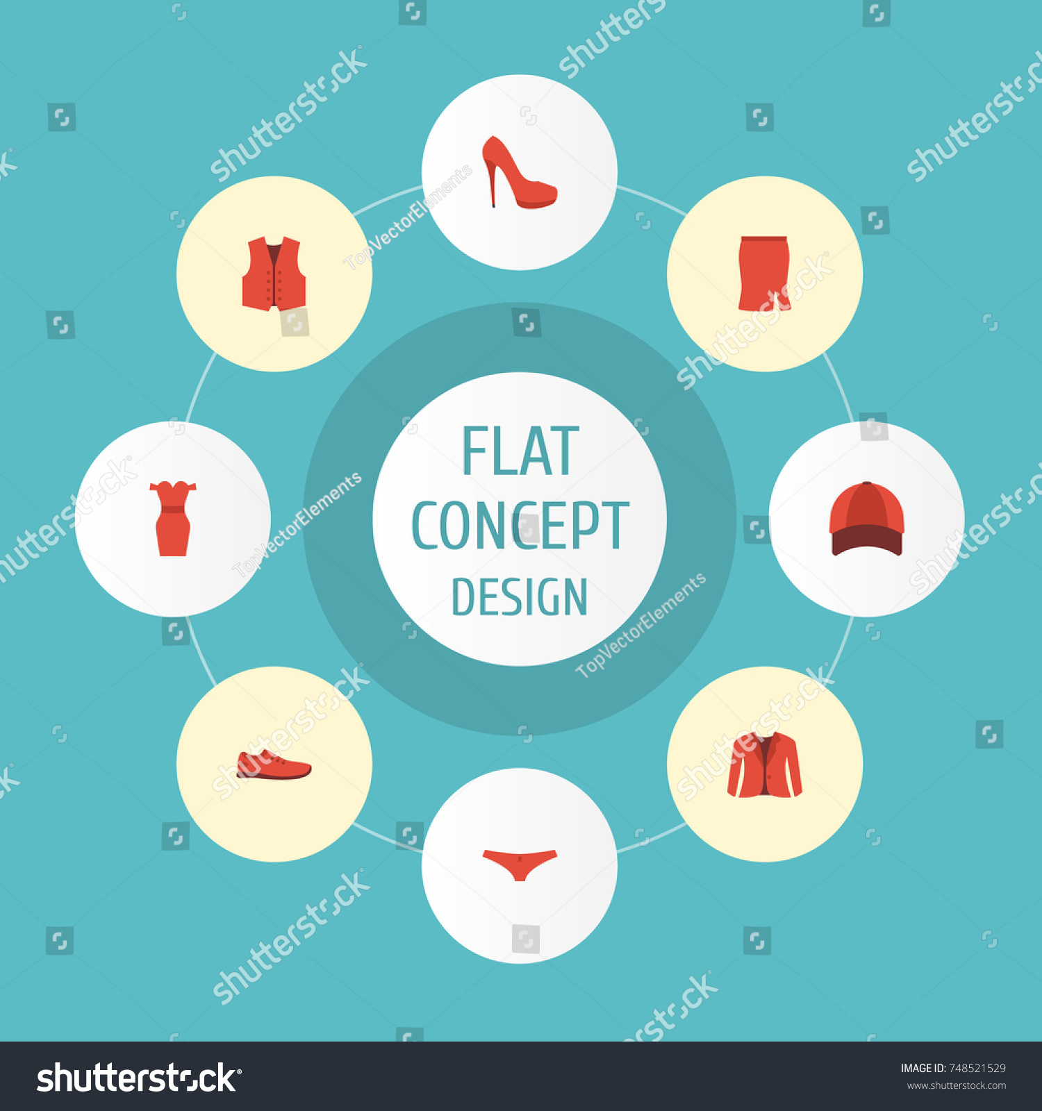 Flat Icons Gumshoes Apparel Coat Other Stock Vector Royalty Free