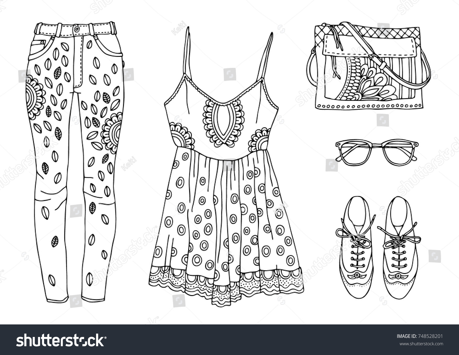 Hand Drawn Clothes Set Fashion Tips Stock Vector (Royalty