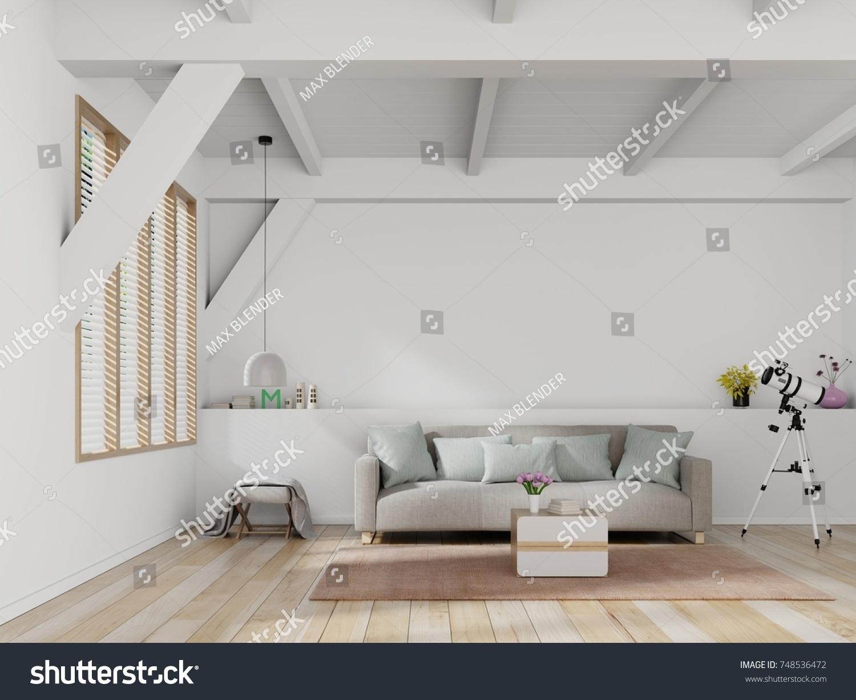 Bright Cozy Modern Living Room Interior Stock Illustration 748536472 ...