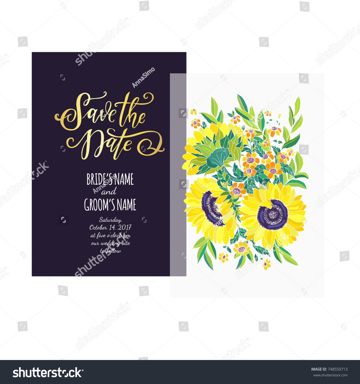 Save Date Card Template Wedding Invitation Stock Vector 748559713 ...