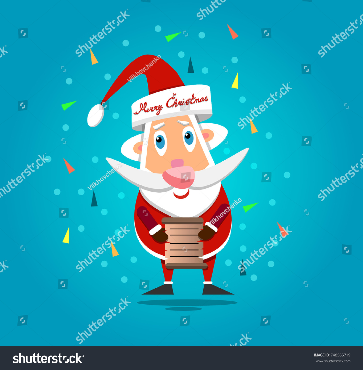 Vector Image Santa Claus List Gifts Stock Vector Royalty Free