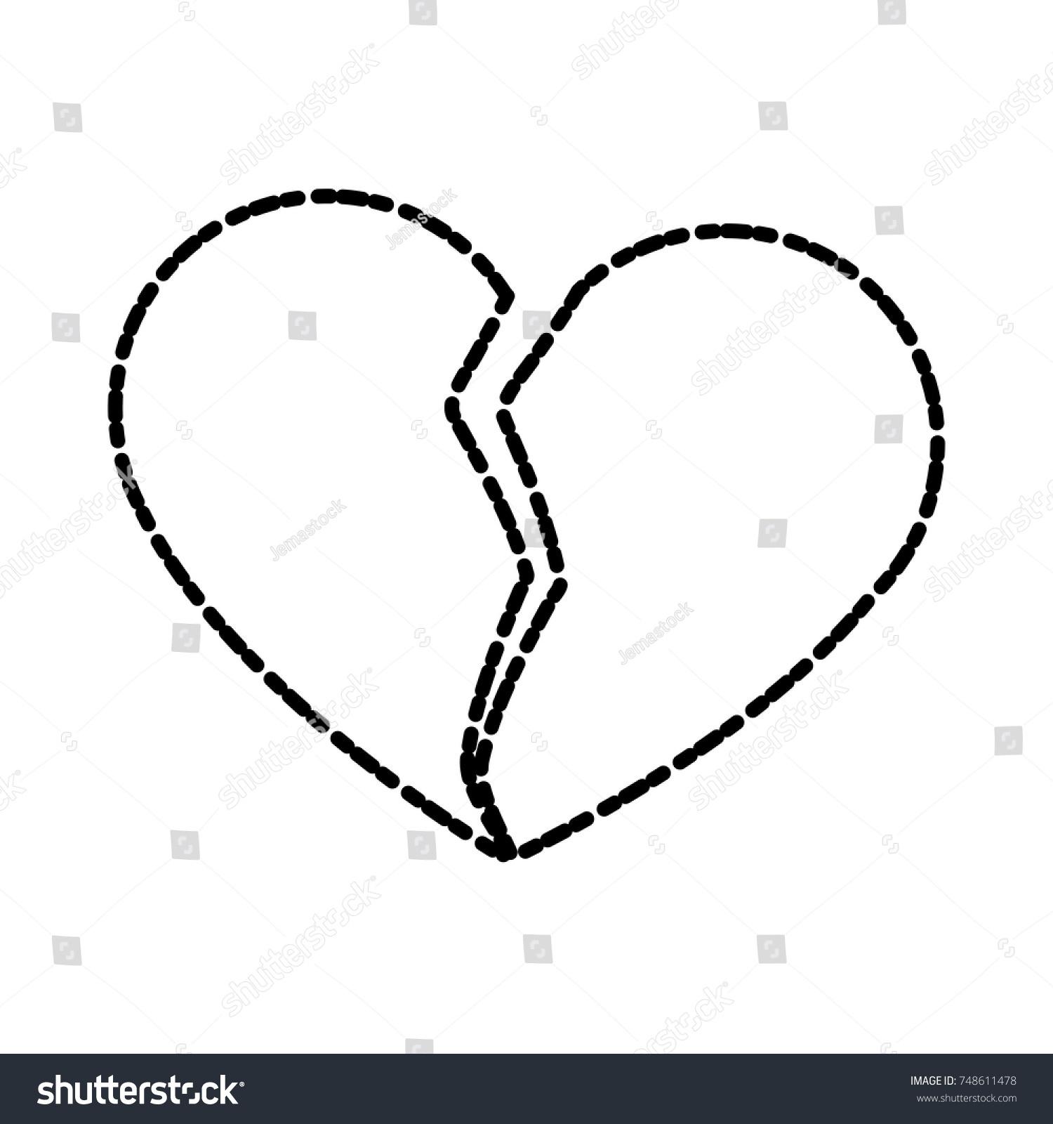 Broken Heart Symbol Stock Vector 748611478 Shutterstock