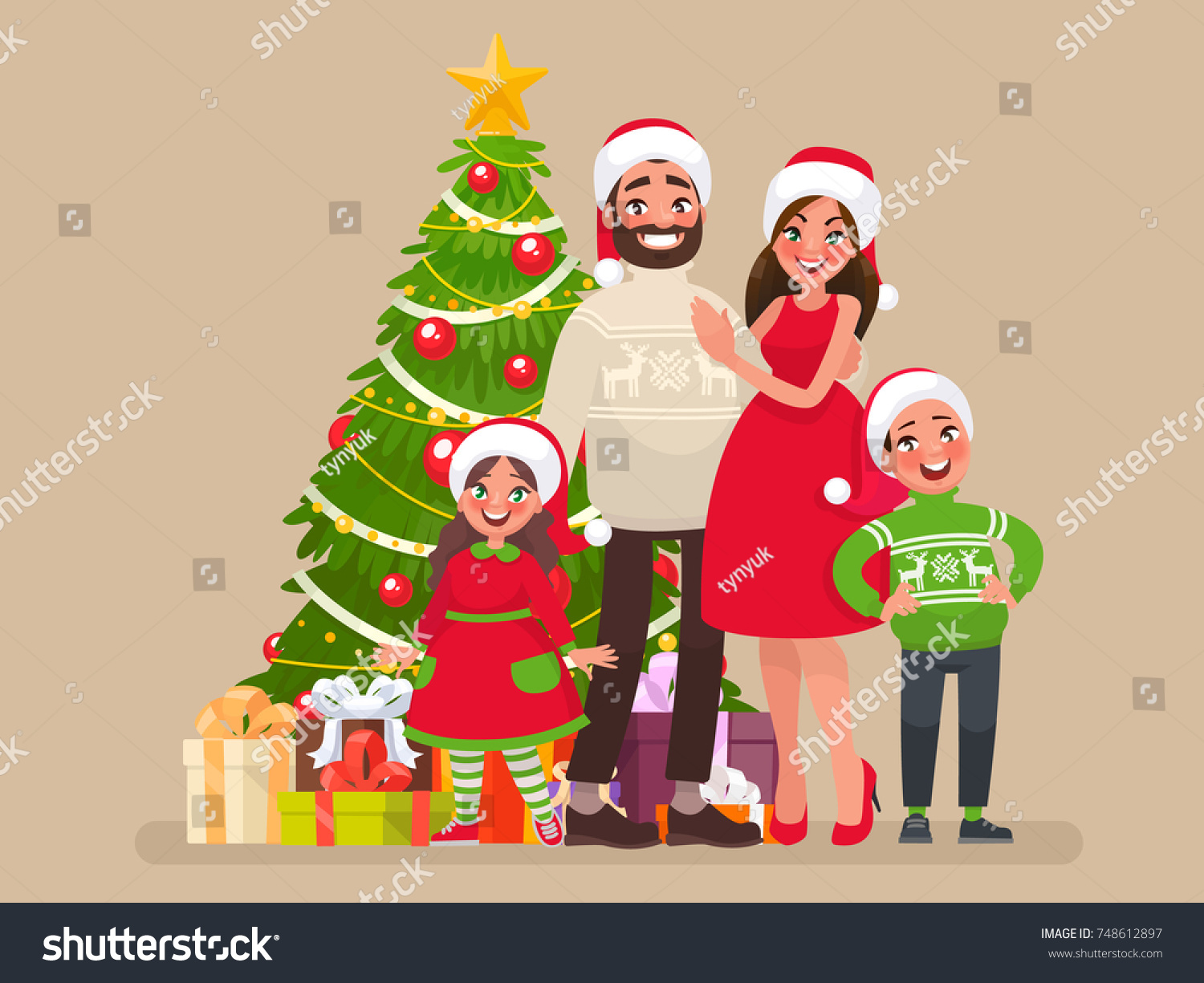 Merry Christmas Happy New Year Family Stock Vector Royalty Free