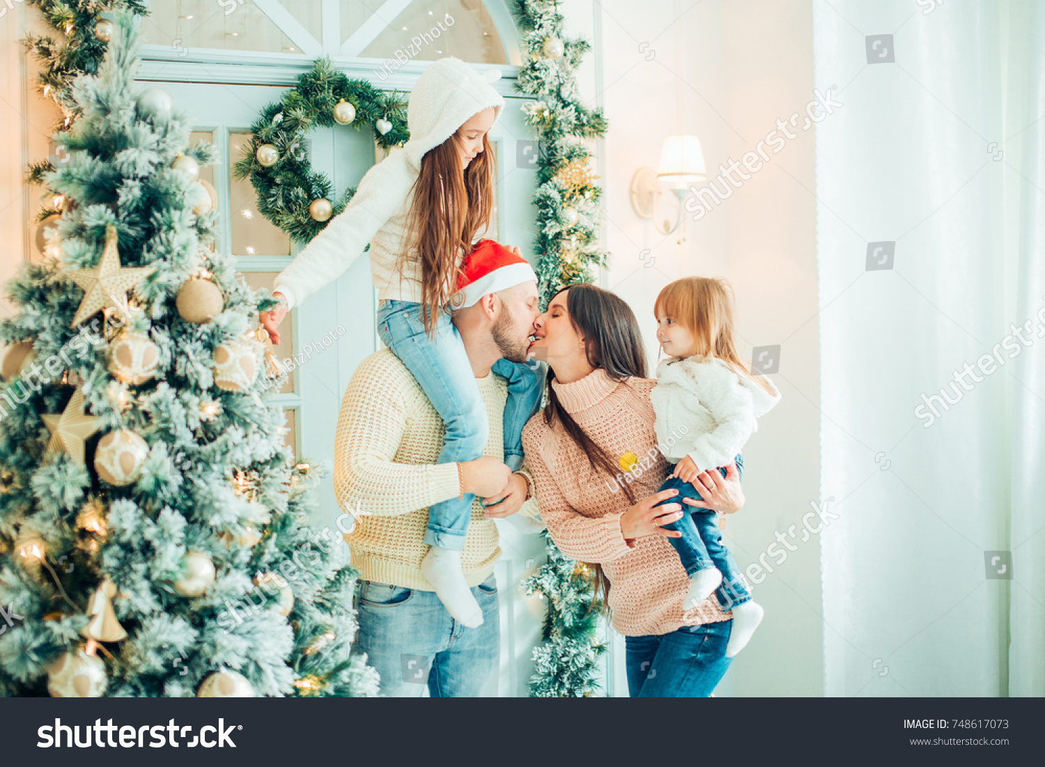 Fun Happy Family Christmas Gifts Parents Stock Photo (Edit Now ...