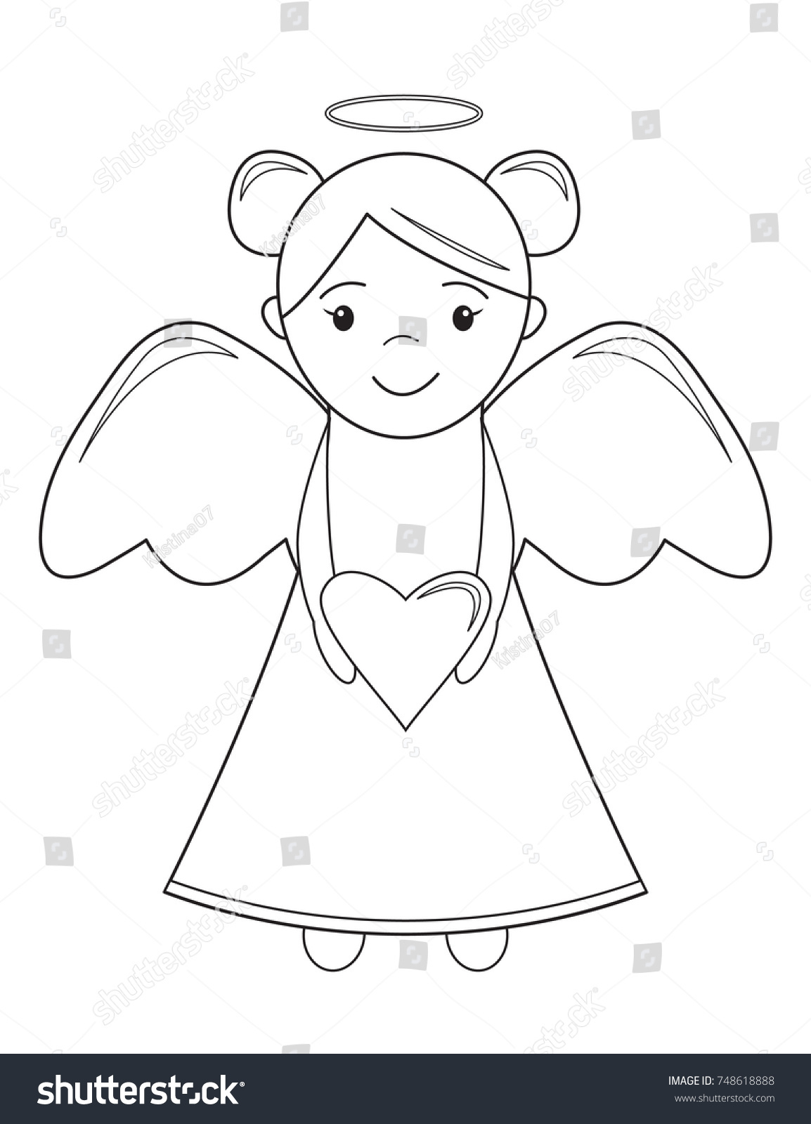 Color Book Children Christmas Angel Heart Stock Vector 748618888