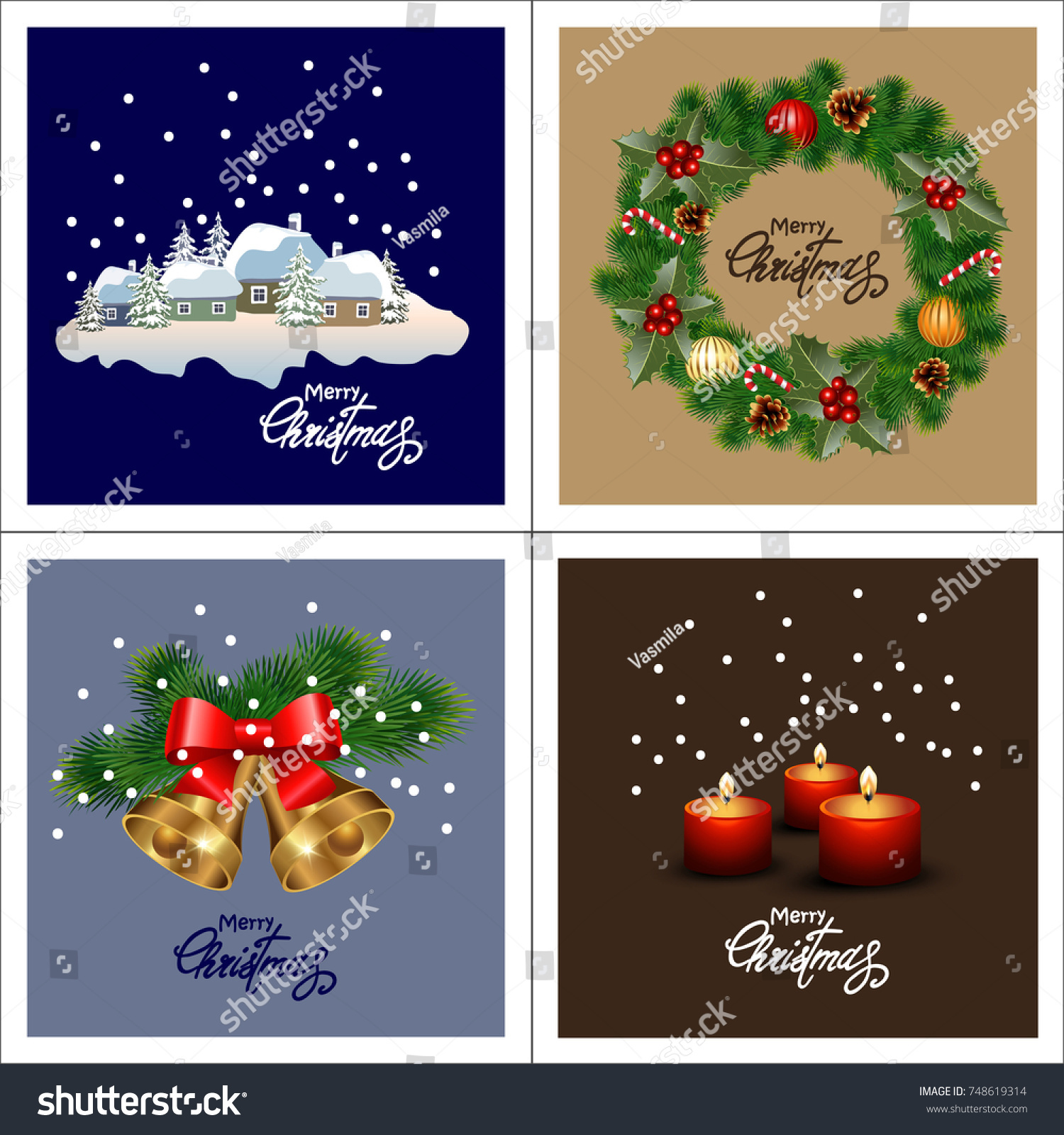 Set Christmas Greeting Cards Collection Holiday Stock Vector (2018 ...
