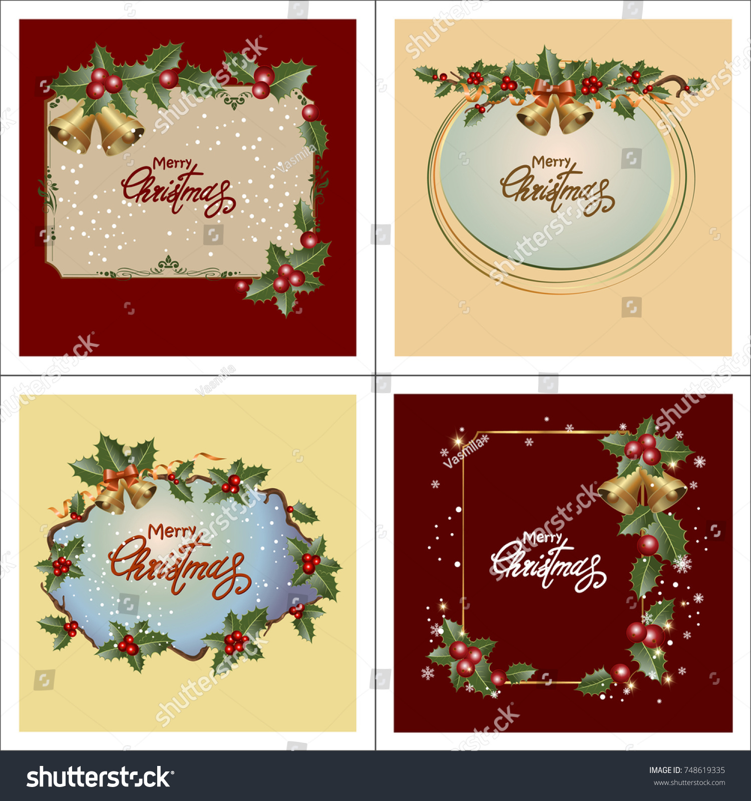 Set Christmas Greeting Cards Collection Holiday Stock Vector ...