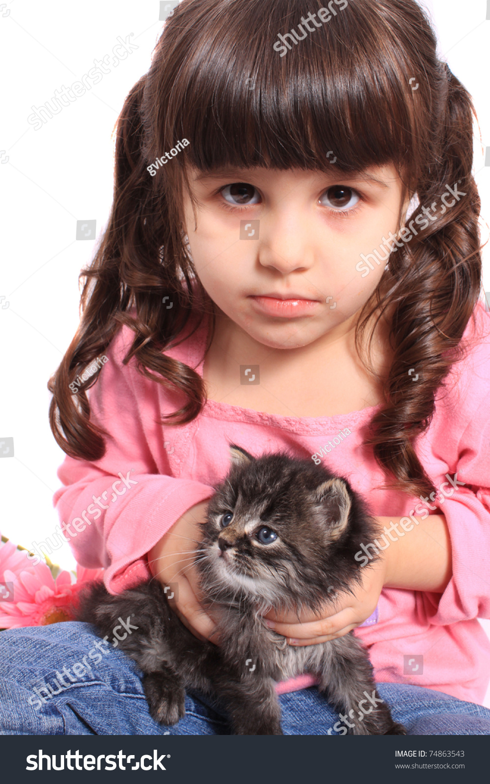 Adorable Four Year Boy With Big Blue Eyes Stock Image: Cute Little Four Year Old Girl Stock Photo 74863543