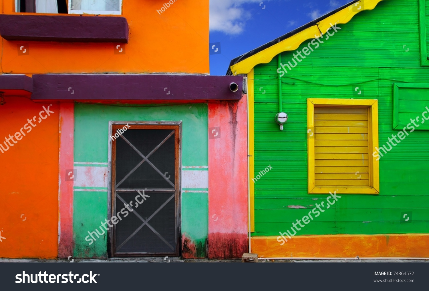 Colorful Caribbean Houses Tropical Vivid Colors Stock