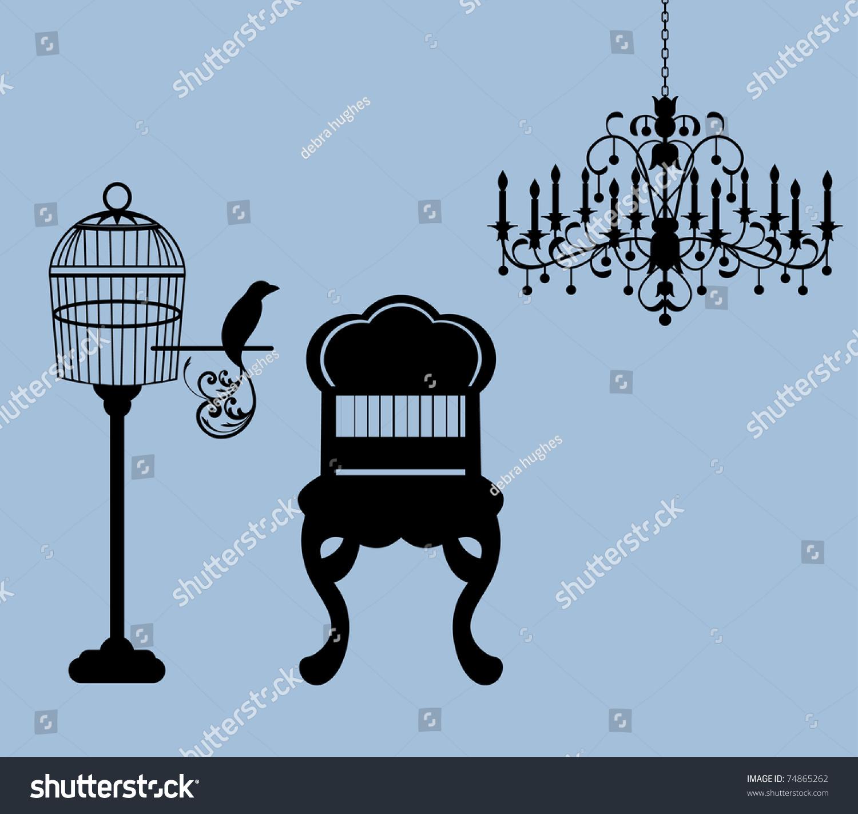 Vintage Parlor Birdcage Bird Chair Chandelier Stock Vector