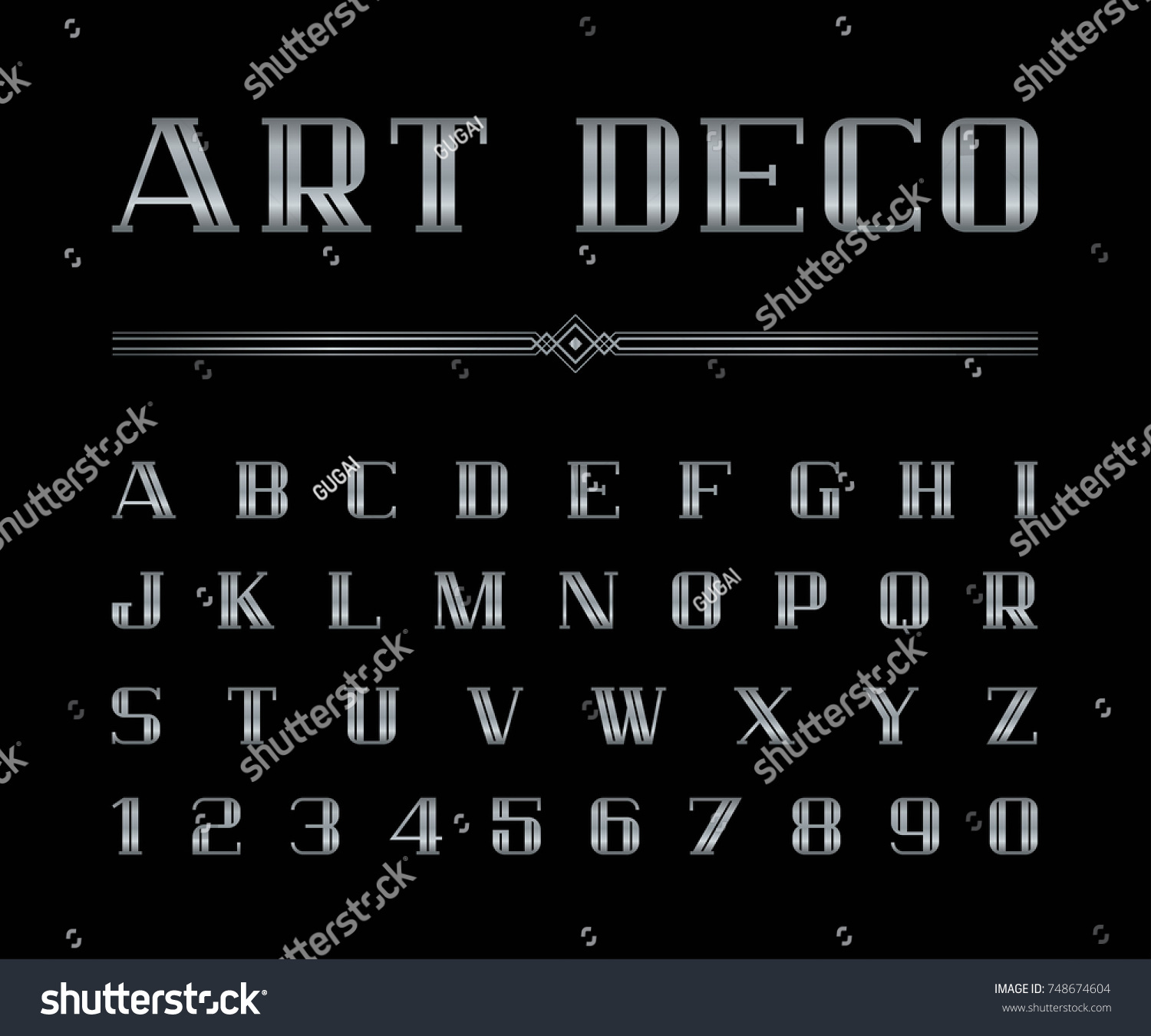 Vector Art Deco Font Alphabet Silver Stock Vector Royalty Free