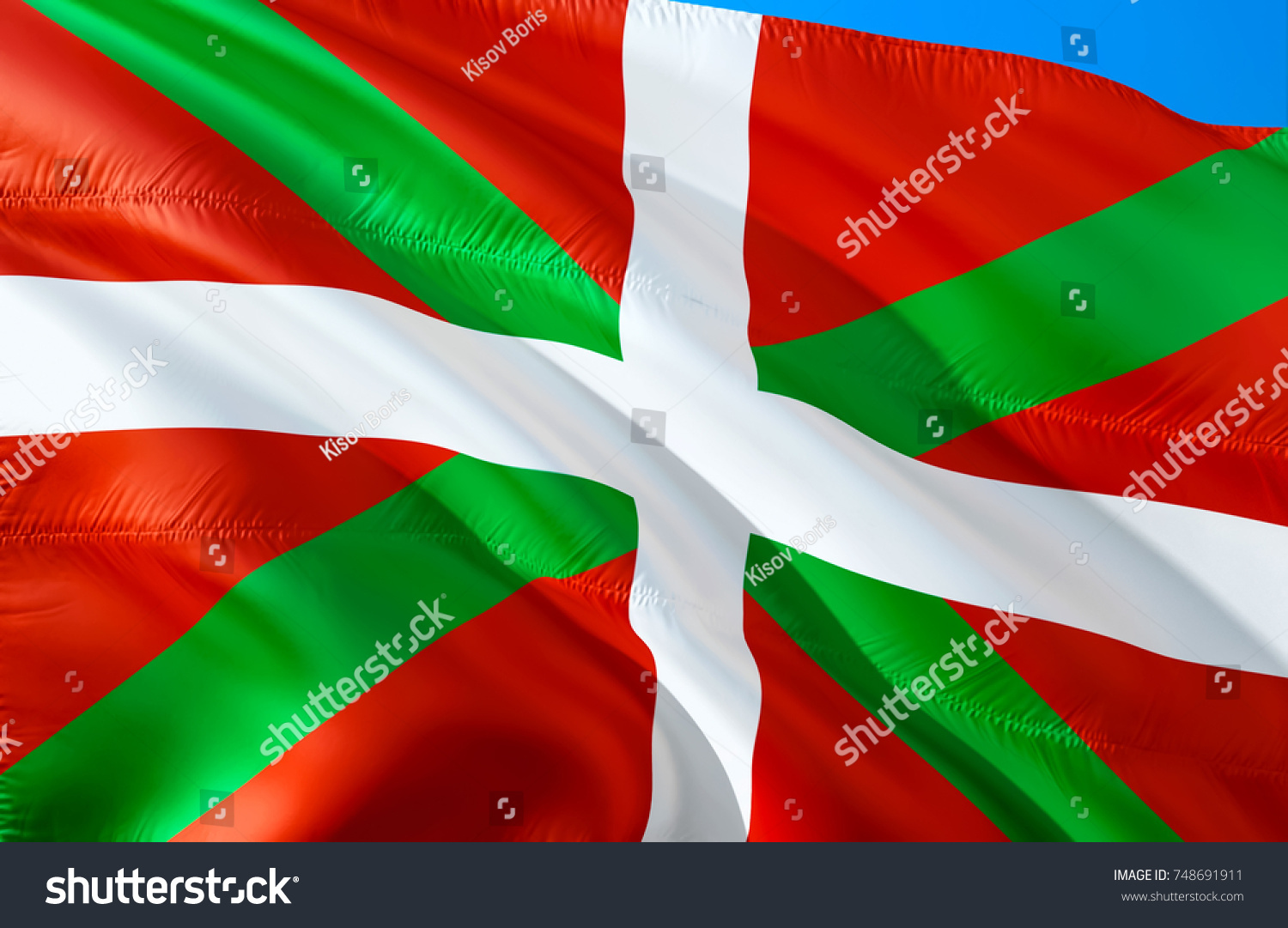 Basque coutry flag waving in the wind basque spain 3d rendering ikurrina flag