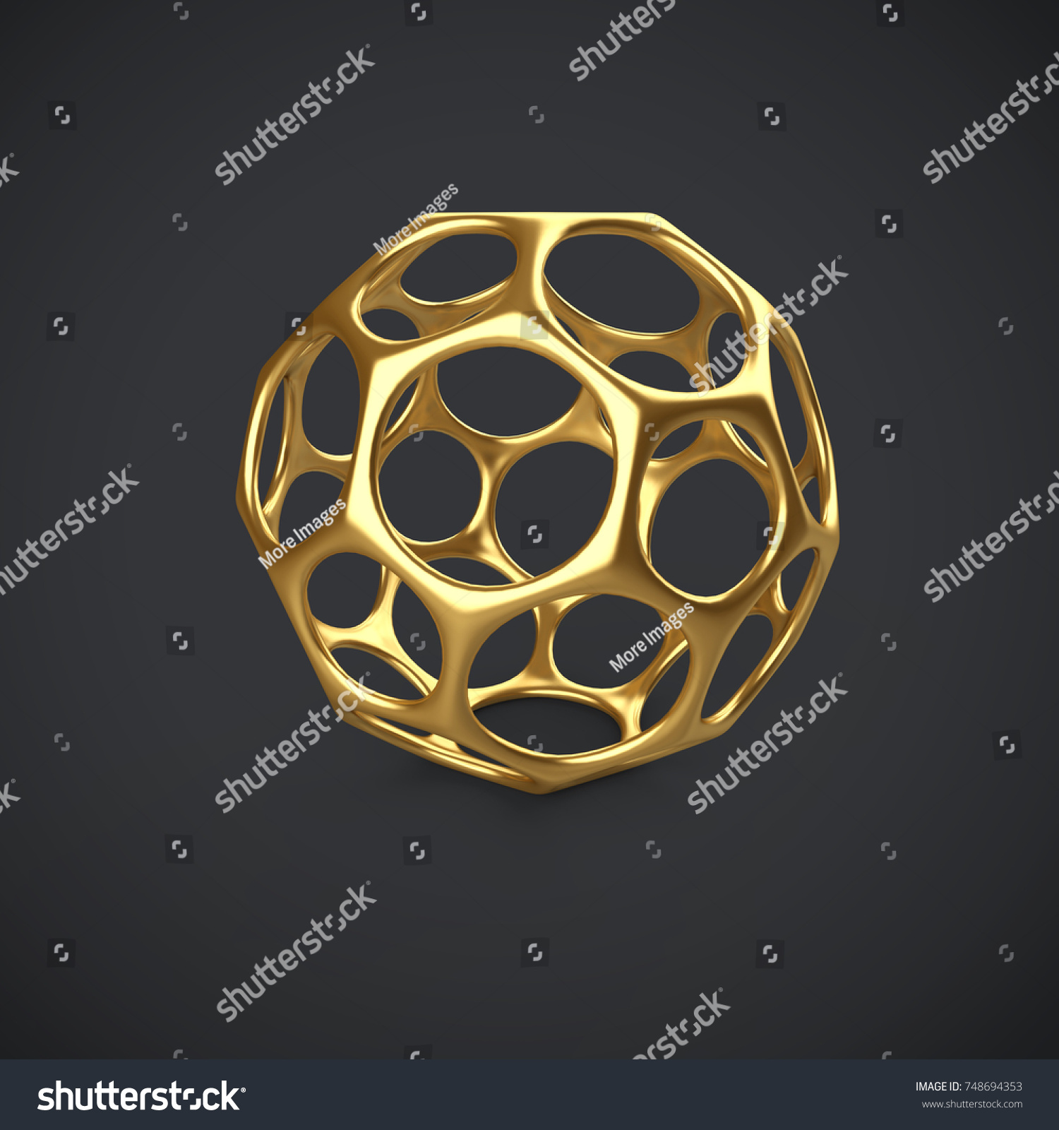 3 D Gold Wireframe Ball Isolated On Stock Illustration 748694353 ...