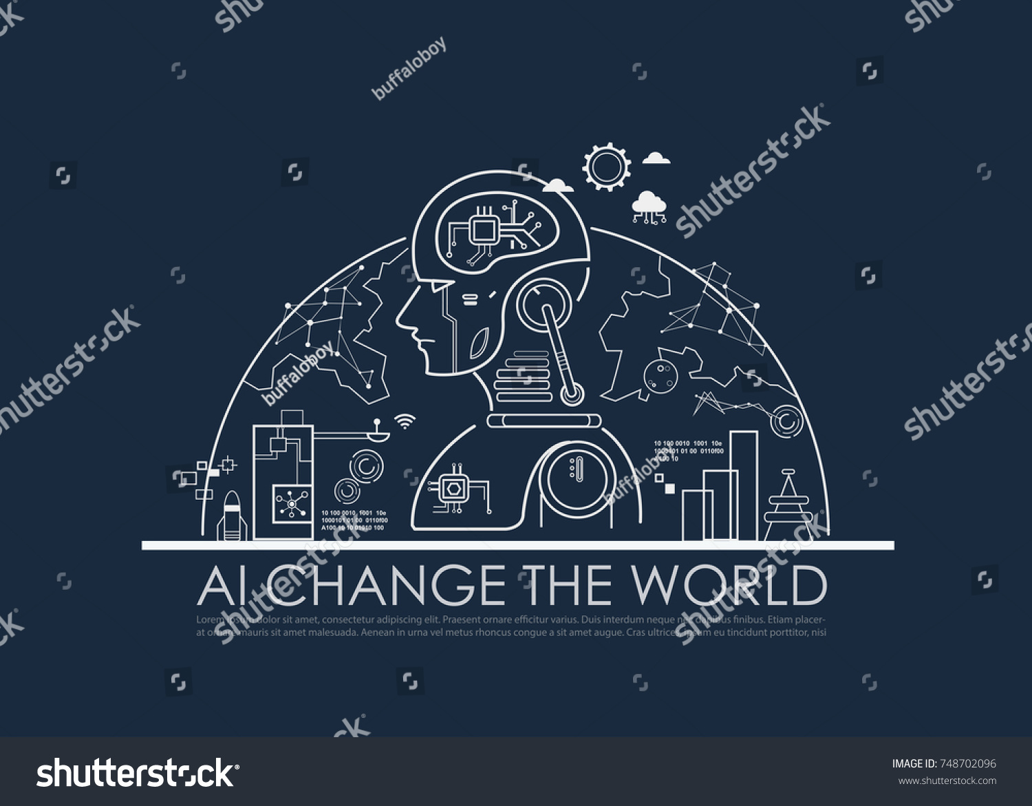 Artificial Intelligence Ai Change World Concept Stock Vector Circuit Board Background Free Graphics Download The Machine And Deep Learning Cloud