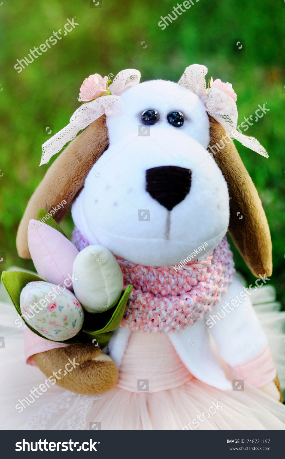 Dog Symbol 2018 Meets Spring Bouquet Stock Photo Safe To Use