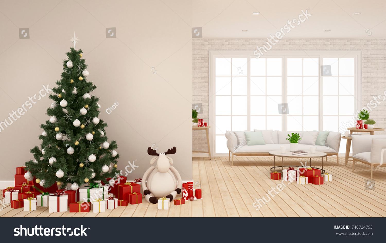 Christmas Tree Reindeer Doll Gift Box Stock Illustration 748734793 ...