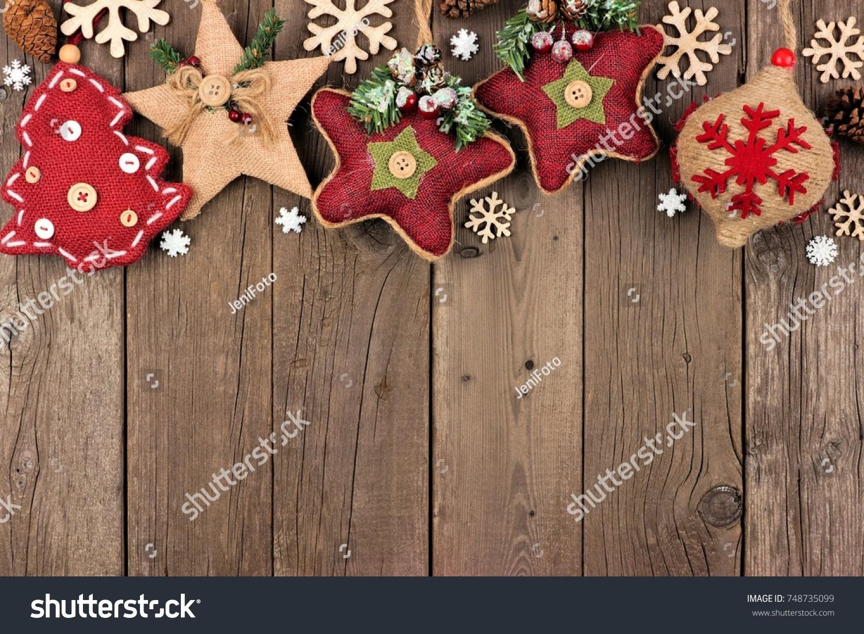Rustic Christmas Top Border Burlap Cloth Stock Photo Royalty Free 748735099