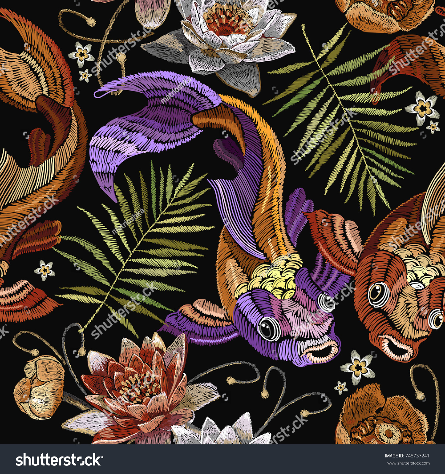 Embroidery vintage koi fish palm leaves and water lily seamless pattern japanese pattern