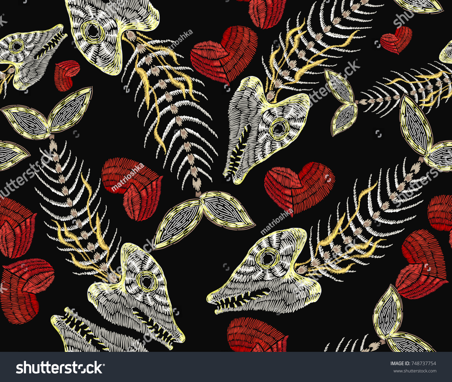 Embroidery Fish Bone Heart Seamless Pattern Stock Vector HD (Royalty ...
