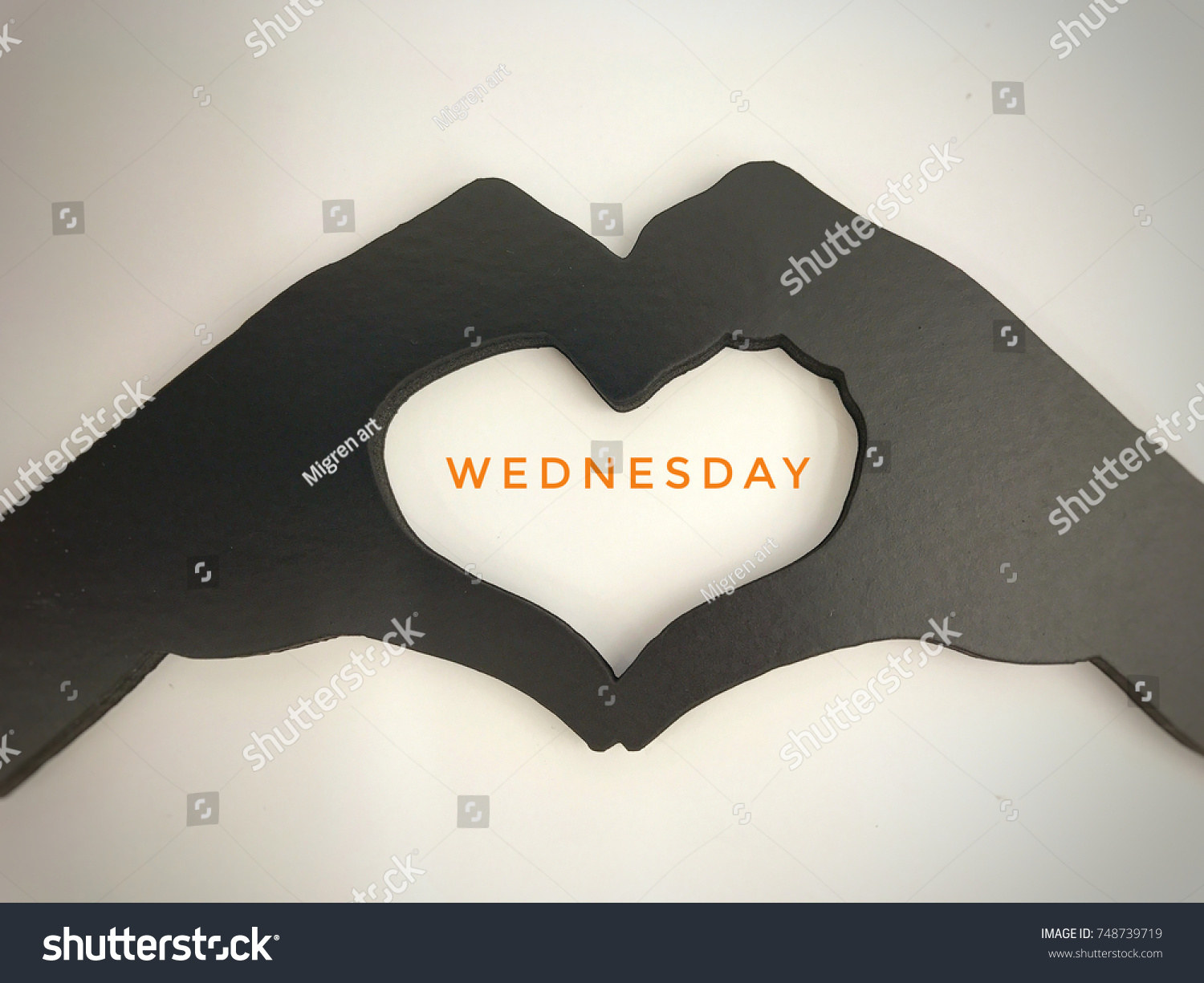 Name Weekday Written Middle Heart Symbol Stock Photo Edit Now
