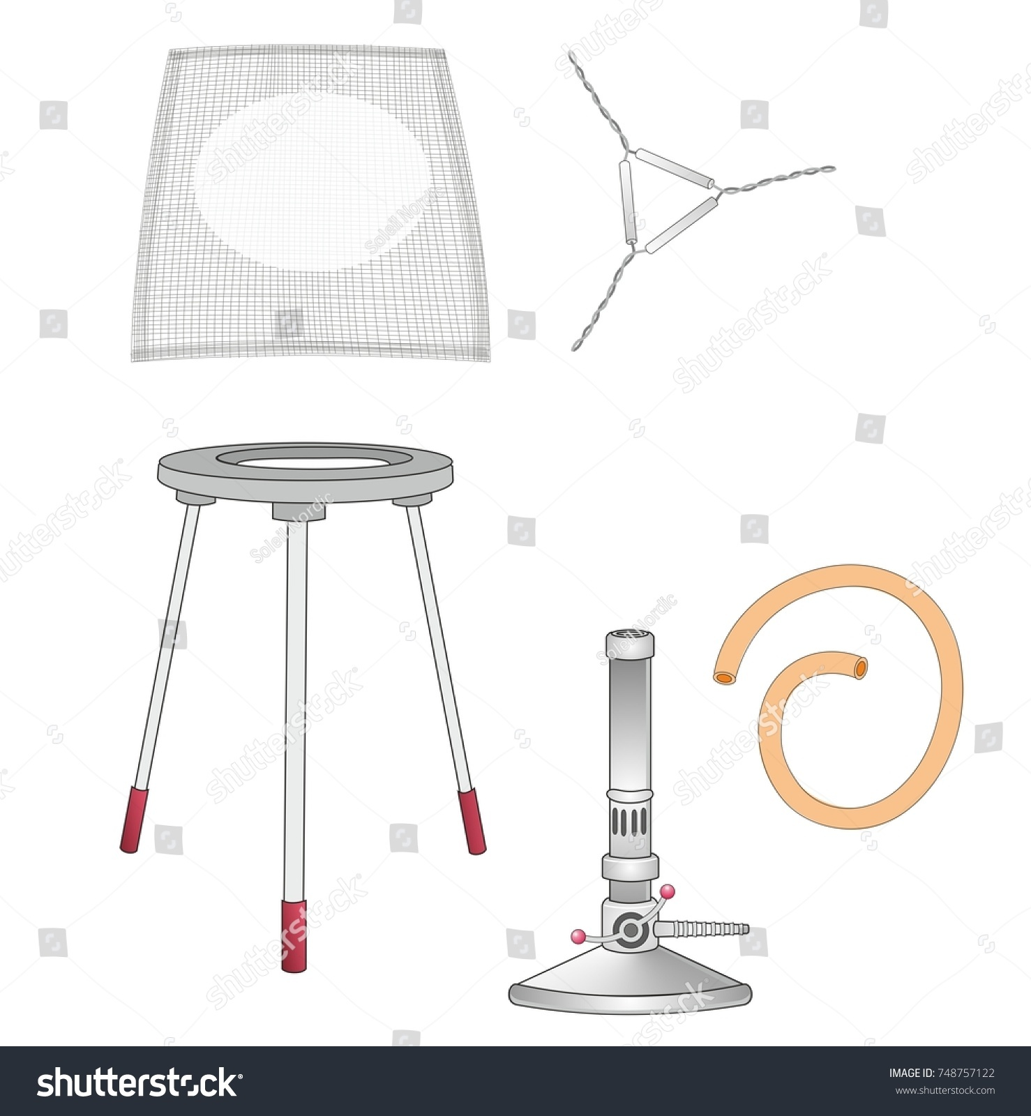 Set laboratory equipments bunsen burner tripod stock illustration a set of laboratory equipments a bunsen burner a tripod and a wire gauze pooptronica Choice Image