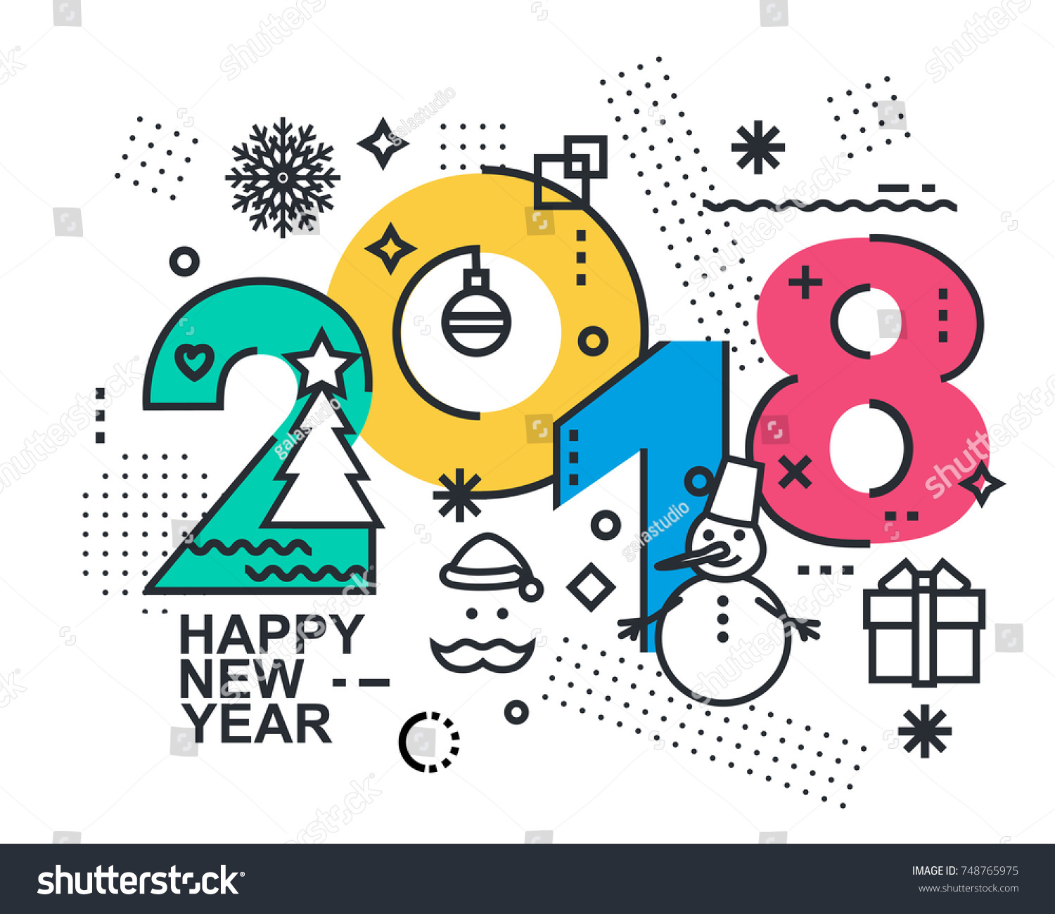 2018 happy new year trendy and minimalistic card or background modern thin contour line design