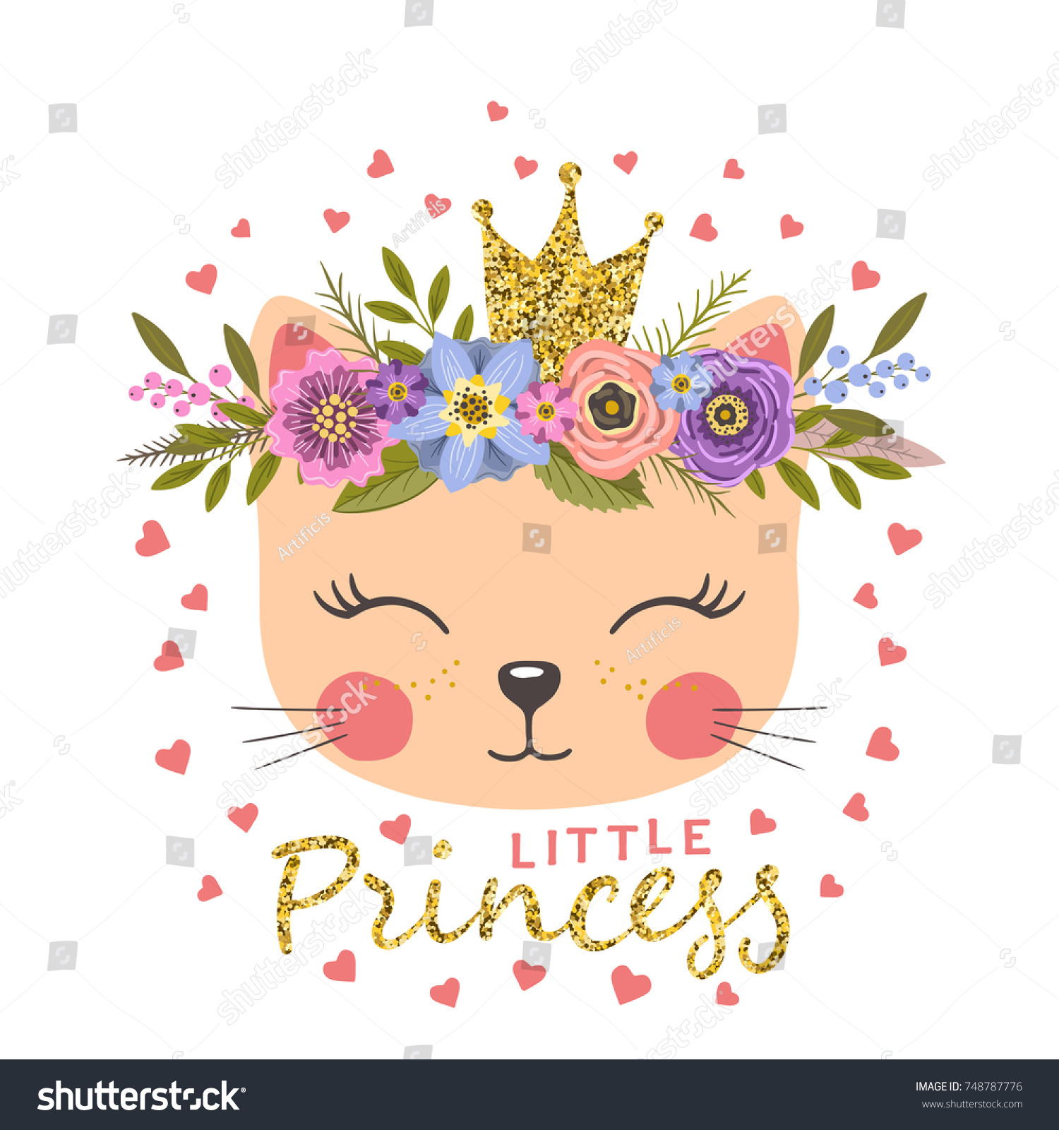 Princess. Cute cat girl with crown and floral wreath | EZ Canvas