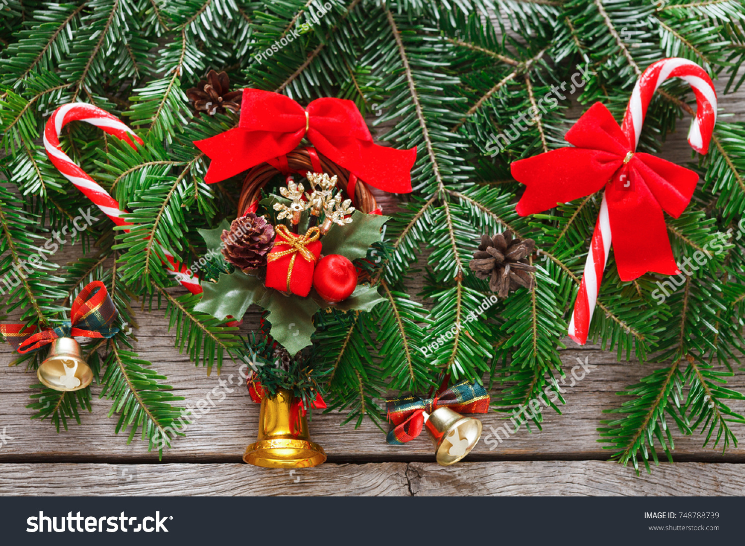 Modern Christmas Tree Decorations Background Lots Stock Photo Edit Now 748788739