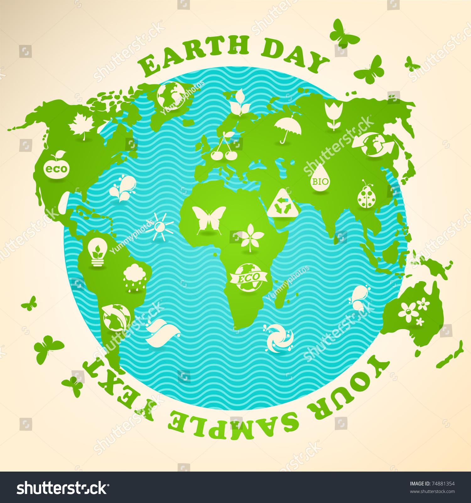 Earth Day Illustration Ecology Symbols Stock Vector Royalty Free